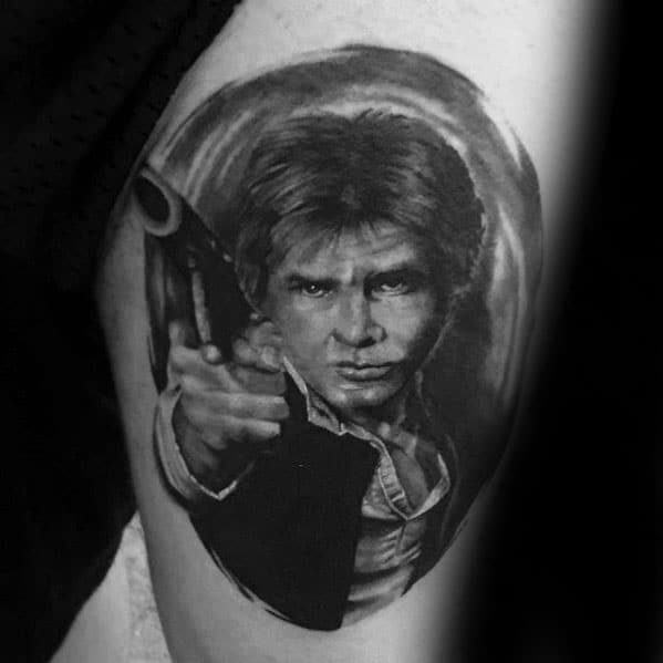 Thigh Shaded Black And Grey Ink Han Solo Male Tattoos