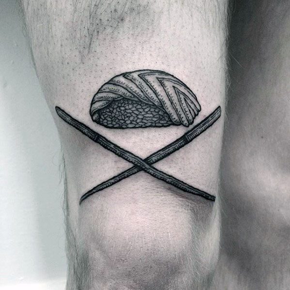 Thigh Shaded Creative Sushi Tattoos For Men