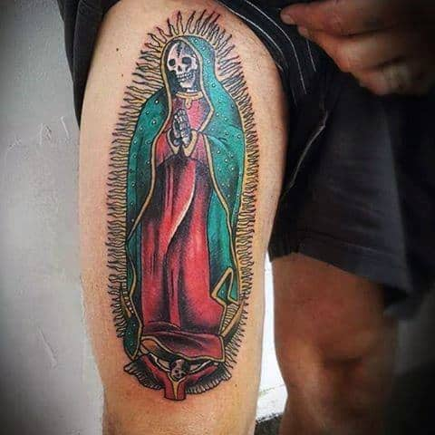 Thigh Skeleton Guadalupe Mens Tattoo Ideas