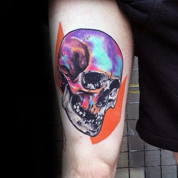 Thigh Skull Colorful Consciousness Tattoos Men