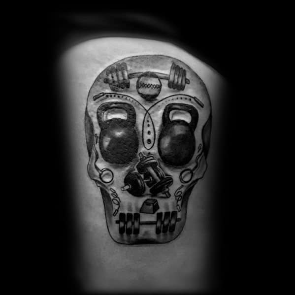Thigh Skull Masculine Crossfit Tattoos For Men