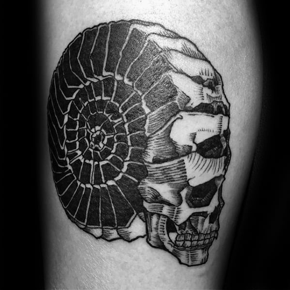 Thigh Skulls Ammonite Tattoo Designs For Guys