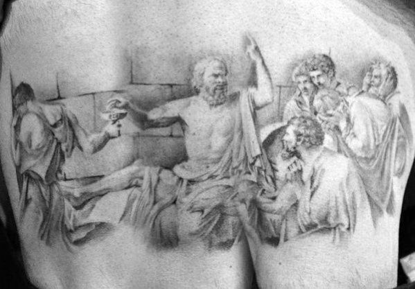 Thigh Socrates Guys Tattoo Ideas