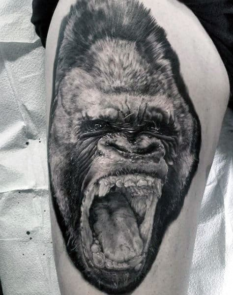 Thigh Tattoo On Man Of Gorilla