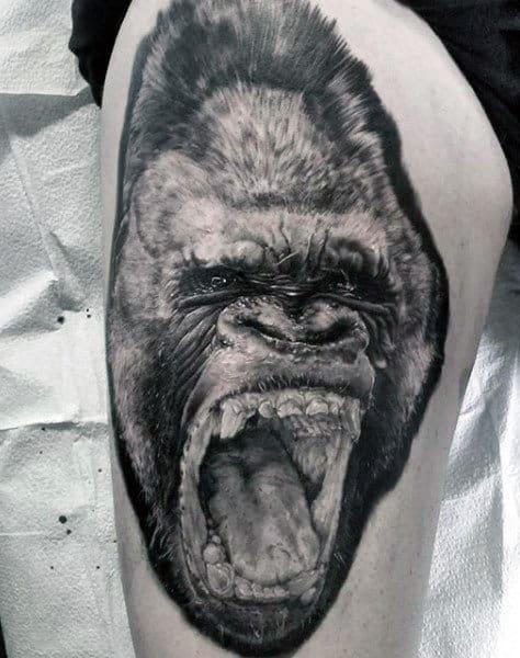Thigh Tattoo On Man Of Gorilla