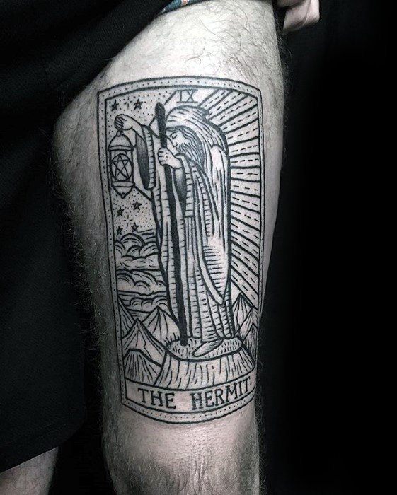 Thigh The Hermit Card Cool Male Tarot Tattoo Designs