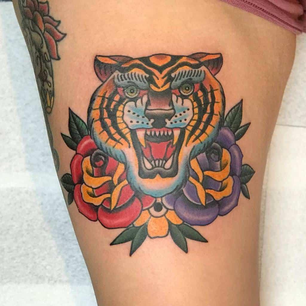 thigh tiger rose tattoos hooliganz_art