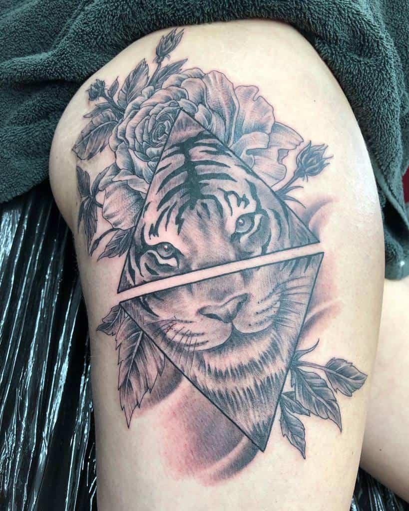 thigh tiger rose tattoos jasondavistattoo