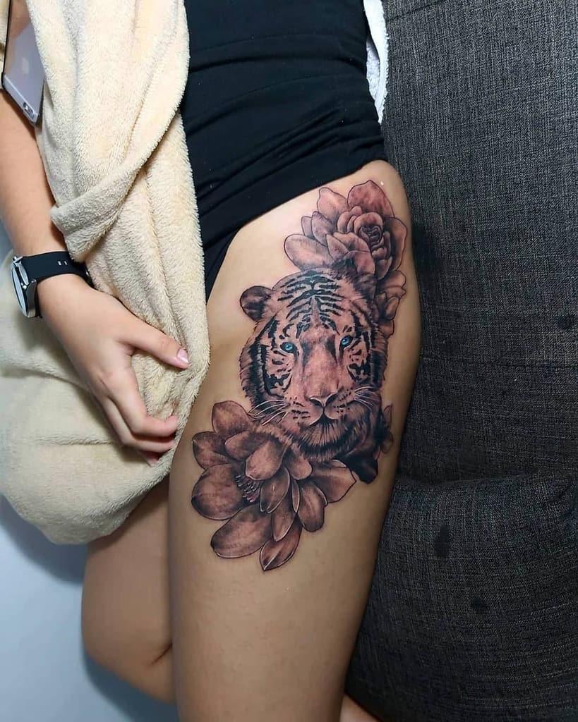 thigh tiger rose tattoos r_a_tattoo