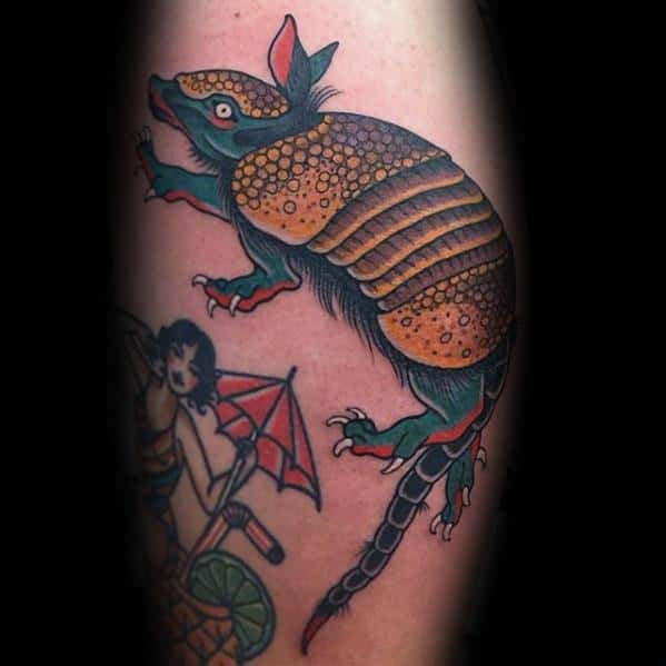 Thigh Traditional Armadillo Guys Tattoo Ideas