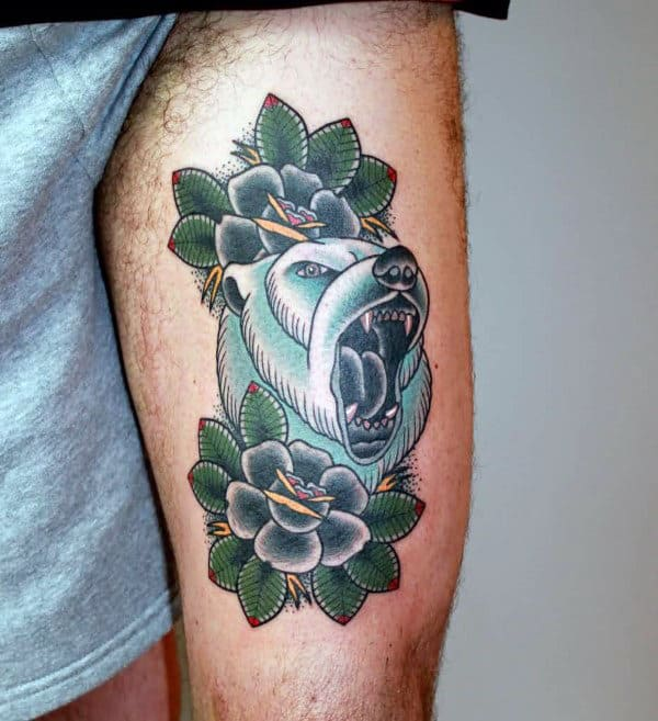 Thigh Traditional Bear With Black Rose Flowers Tattoo Design Ideas For Men