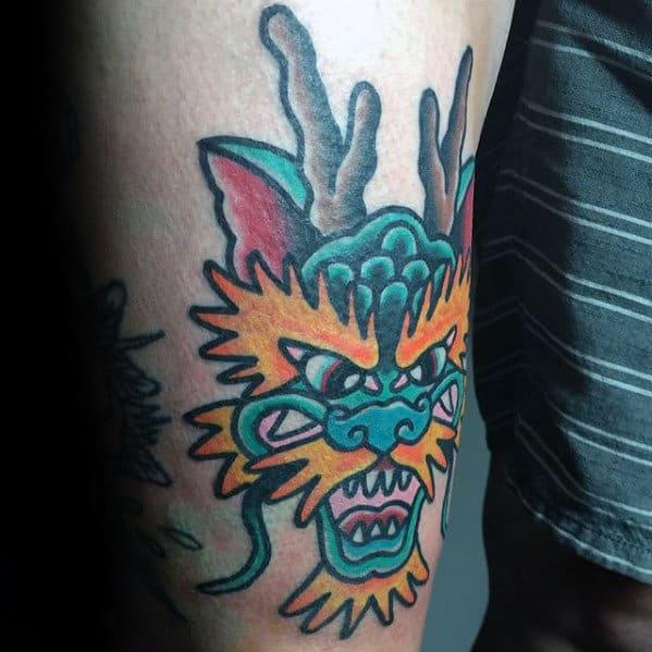 Thigh Traditional Dragon Male Tattoo Ideas