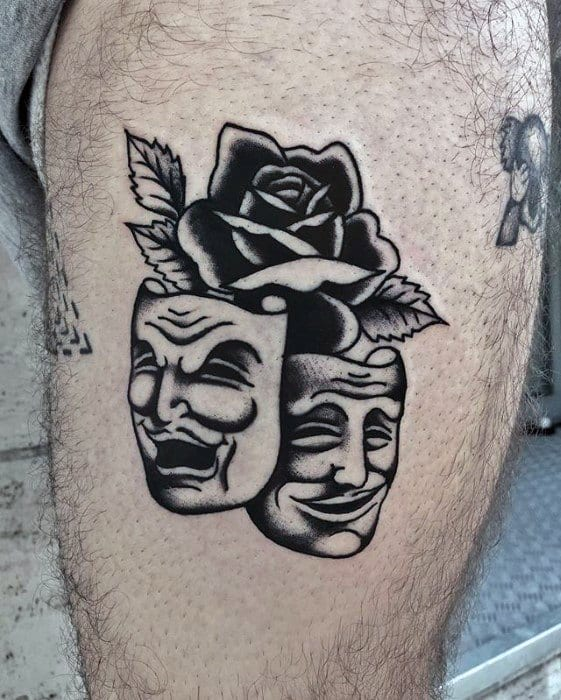 Thigh Traditional Rose Flower Drama Mask Male Tattoo Ideas