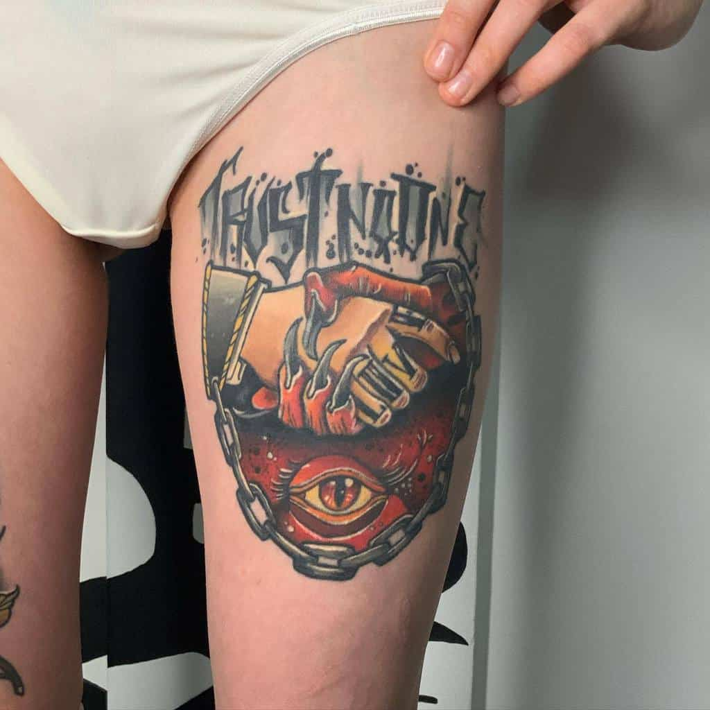 thigh trust no one tattoos andreypuzyr