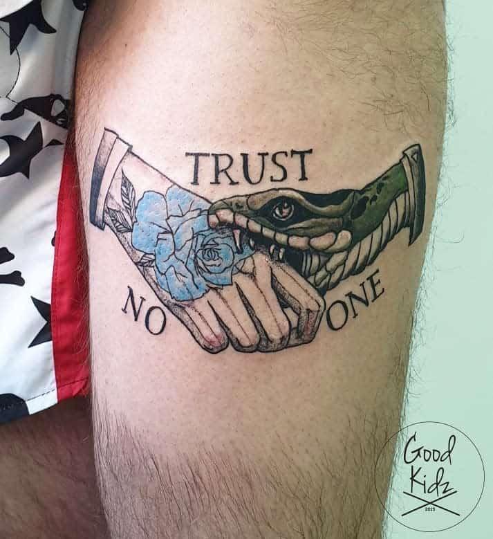 thigh trust no one tattoos good_kidz