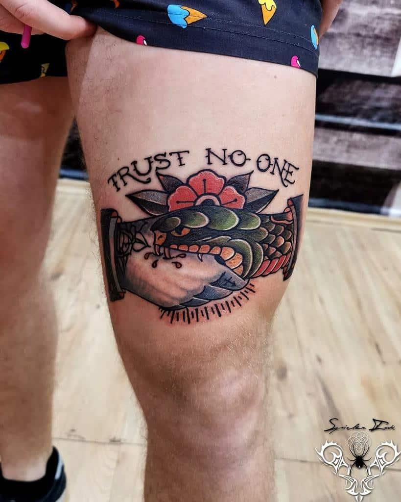 thigh trust no one tattoos spider_ink_tattoos