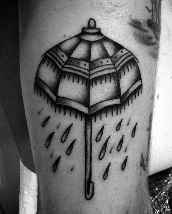 Thigh Umbrella Tattoo Design On Man