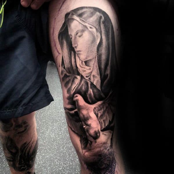 Thigh Virgin Mary Male Tattoo Designs