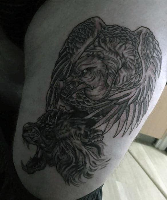 Thigh Vulture Wolf Head Mens Thigh Tattoos