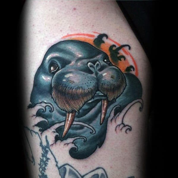 Thigh Walrus Head Guys Tattoos