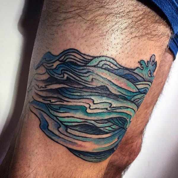 Thigh Wave Band Tattoo For Men