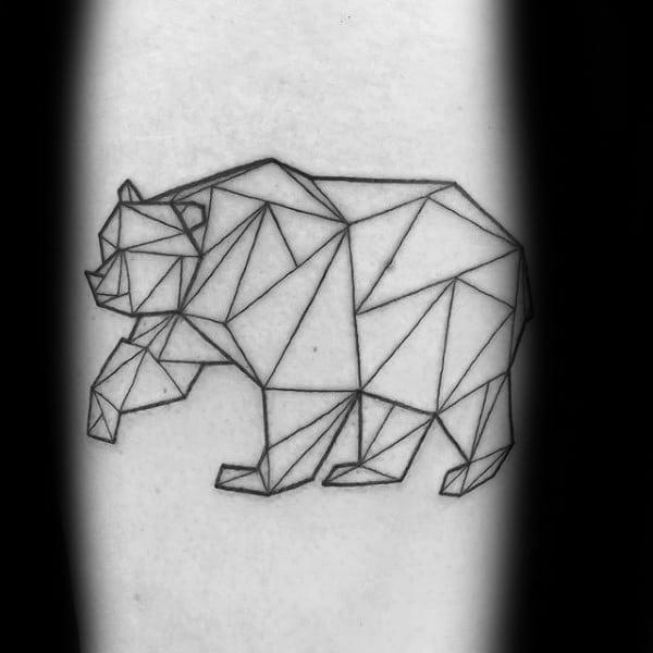 Thin Black Ink Lines Geometric Bear Mens Arm Tattoo