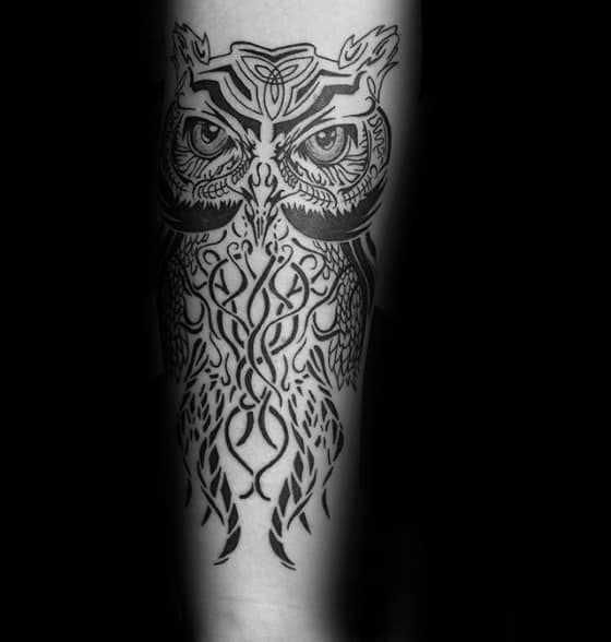 Thin Black Ink Lines Guys Tribal Owl Forearm Tattoo