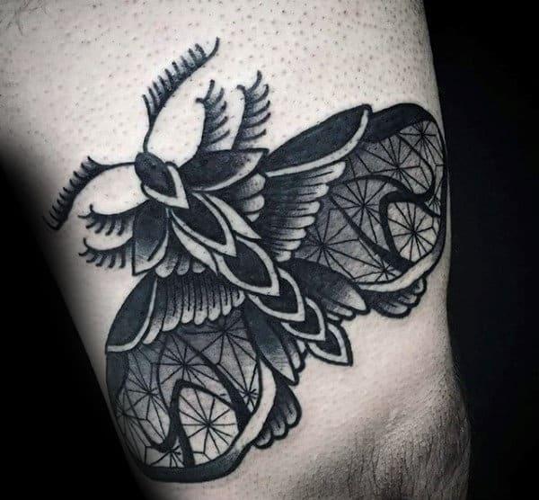Thin Line Detailed Moth Mens Thigh Tattoo Ideas