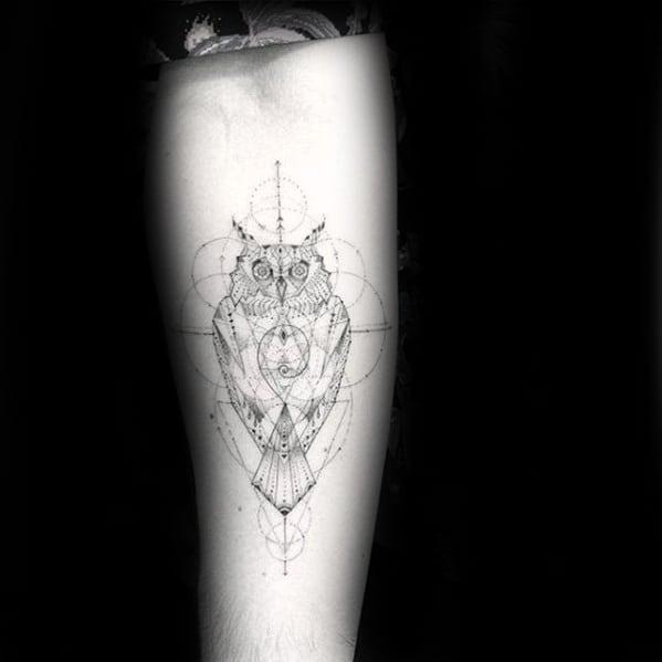 Thin Lines Mens Circular Geometric Owl Inner Forearm Tattoo