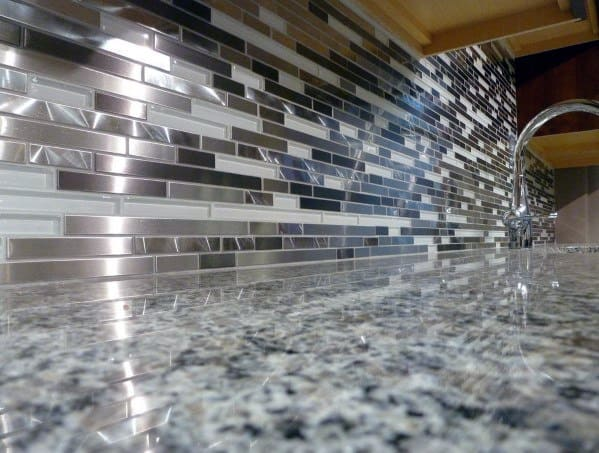 Thin Metallic White Metal Backsplash Ideas
