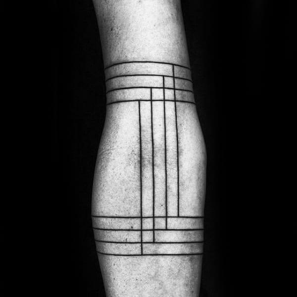 Thin Simple Linework Black Ink Minimalist Male Tattoo Design Ideas