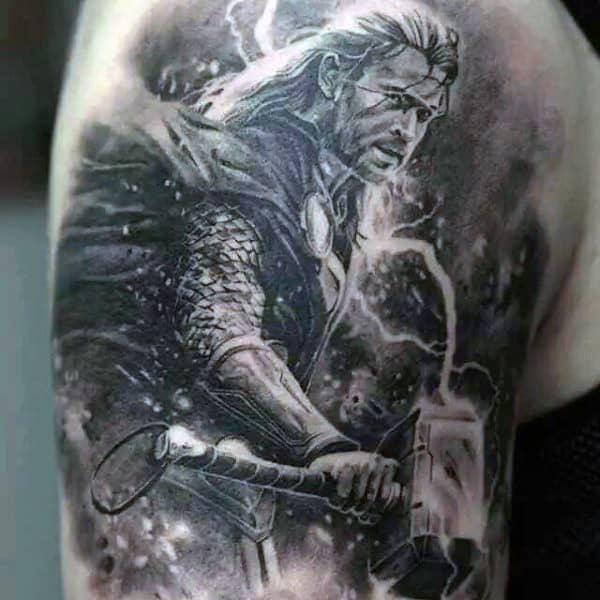 Thor Detailed Mens Upper Arm Tattoo