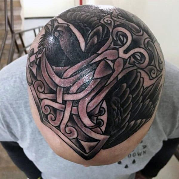 Thor Hammer Guys Head Tattoo With Black Crow