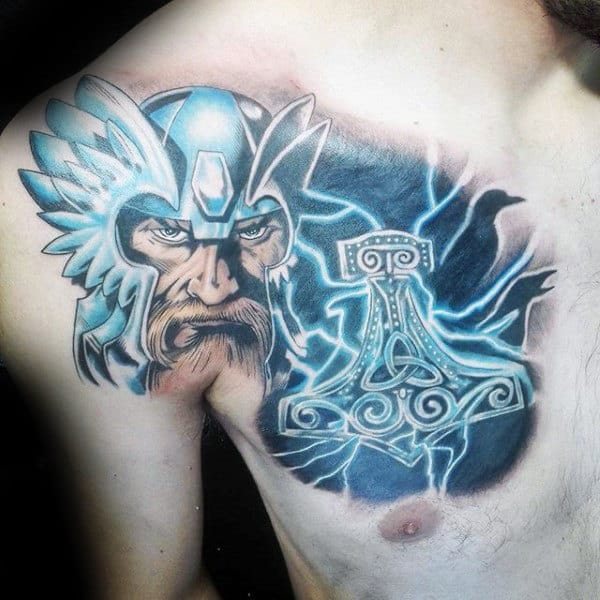 Thor With Thunderbolts Mens Mjolnir Chest Tattoos