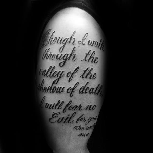 Though I Walk Through The Valley Of The Shadow Of Death Psalm 23 Mens Arm Tattoos