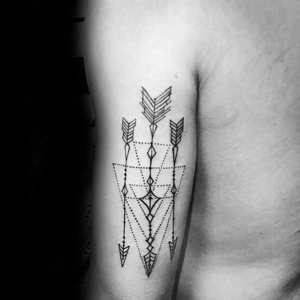 Three Arrows Back Of Arm Geometric Tattoos For Men
