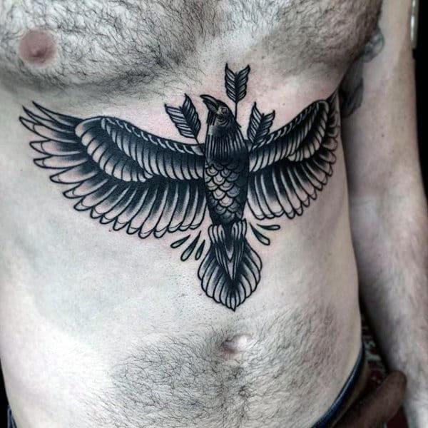 Three Arrows Cutting Through Raven Tattoos Mens Chest