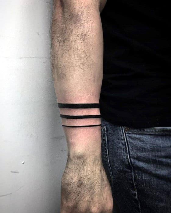 Three Black Bands Guys Forearm Tattoo Designs