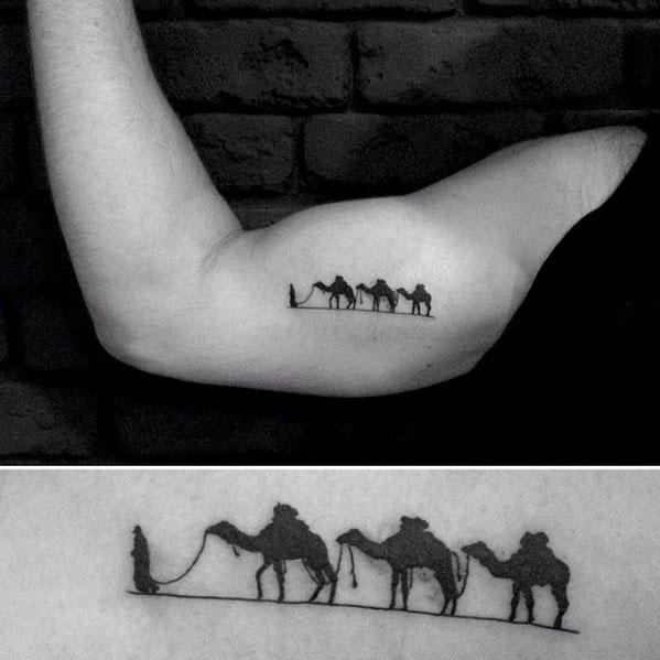 Three Camels Mens Inner Arm Bicep Tattoos