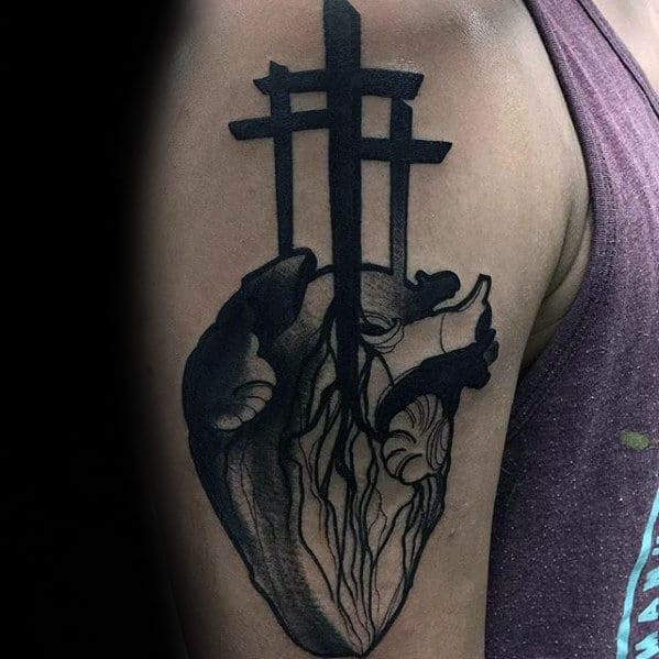 Three Crosses With Heart Mens Modern Badass Arm Tattoos