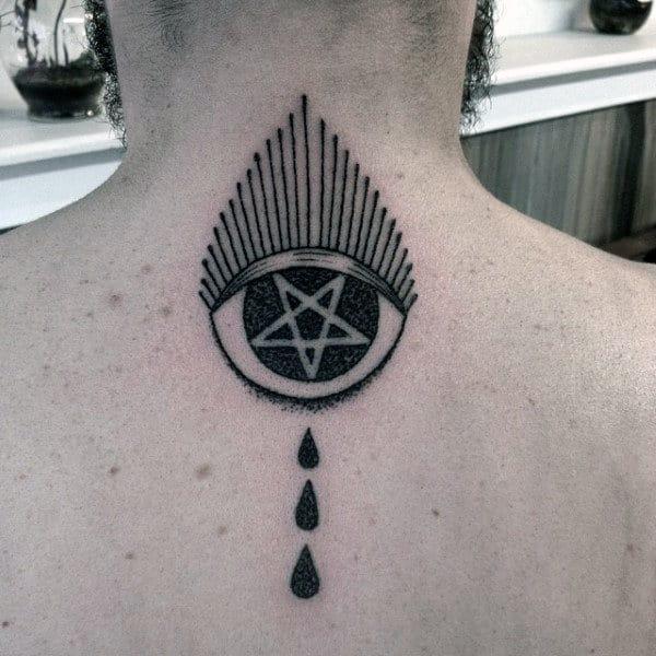 Three Droplets Pentagram Tattoo Mens Back
