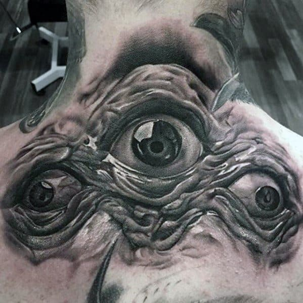 Three Eye 3d Upper Back Rad Guys Tattoos