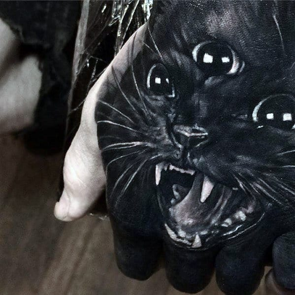 Three Eyed Black Cat Guys Badass Hand Tattoo