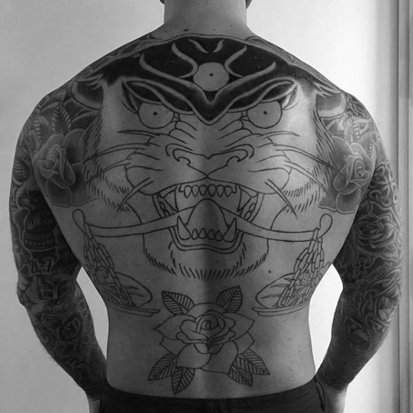 Three Eyed Panther Mens Traditional Tattoo Ideas On Back