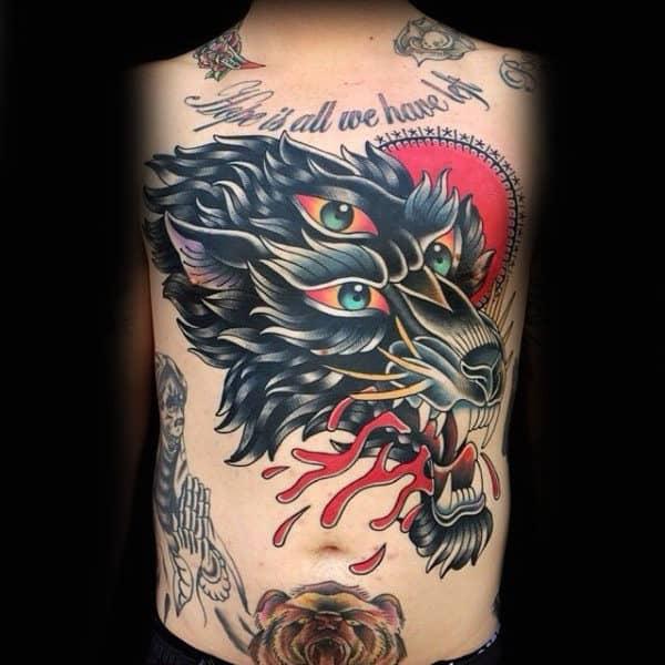 Three Green Eyed Hope Tattoo Mens Torso