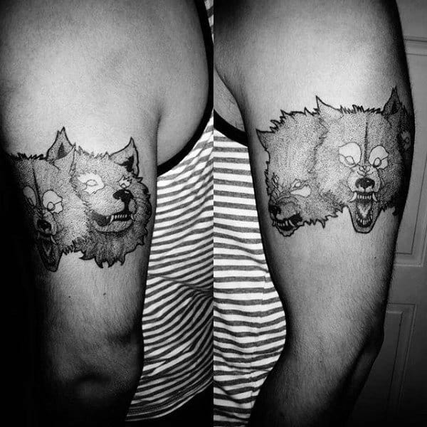Three Headed Cerberus Dog Mens Upper Arm Tattoos