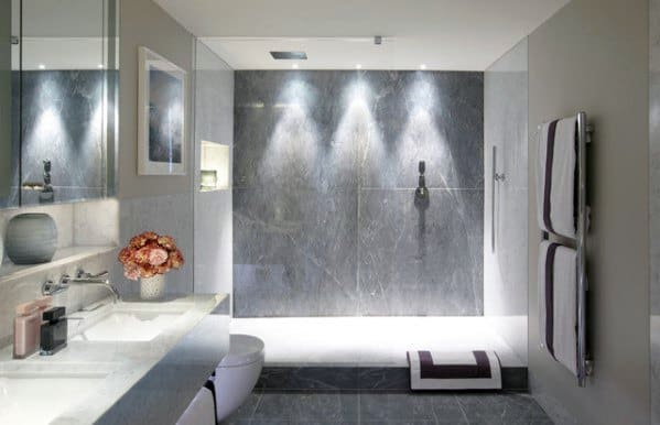 Three Led Recessed Ceiling Cans Bathroom Shower Lighting Design