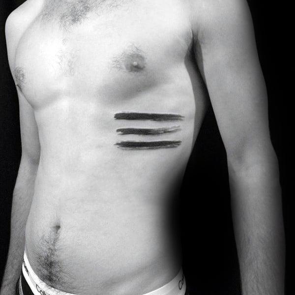 Three Lines Brush Stroke Mens Ribs Tattoo