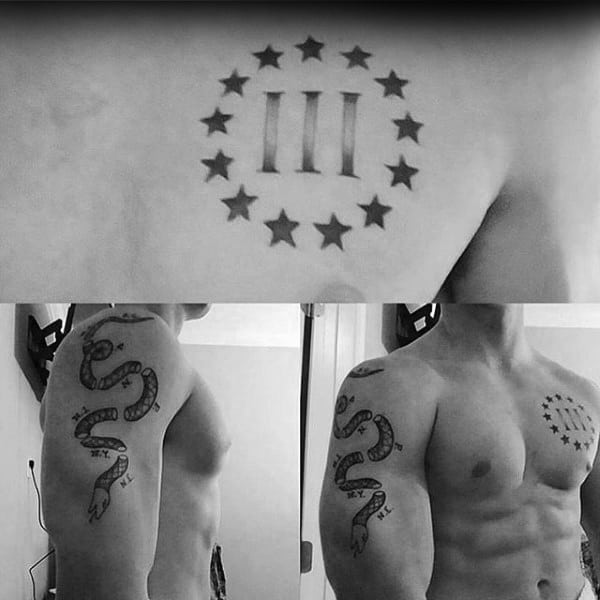 Three Percent Join Or Die Mens Arm And Chest Tattoos