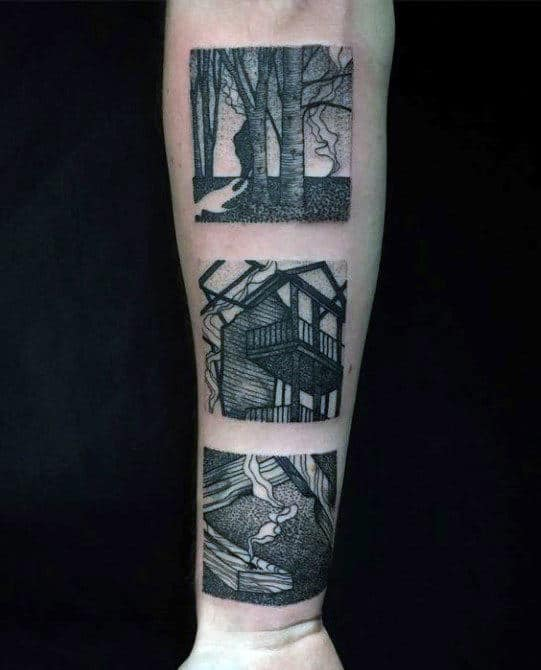 Three Photographs Male Creative Square Inner Forearm Tattoos